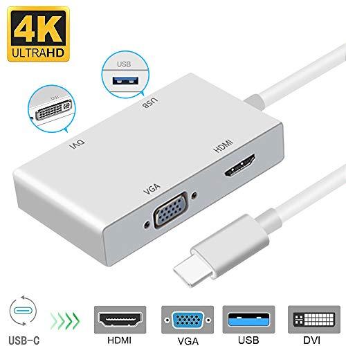 Dvi-hdmi-usb (weton Typ C auf HDMI Adapter, USB 3.1 Typ C zu HDMI VGA DVI USB 3.0 USB HUB (4Kx2K) Multiport Videokonverter für MacBook/MacBook Pro/Chromebook Pixel/Samsung Galaxy S8/S8P zu HDTV/Monitore/Projektor)