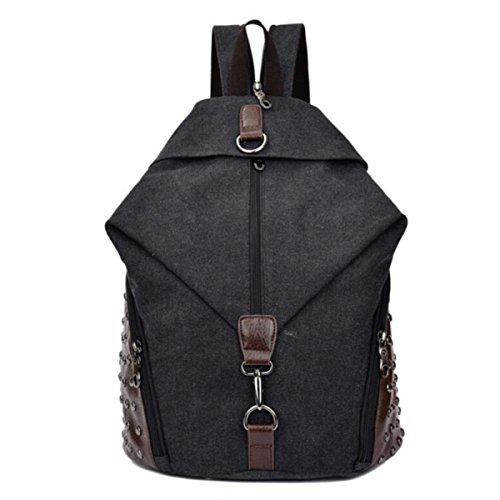Kawaii Canvas Rucksack Damen Herren Rivet Schulranzen Für Jugendliche Daypacks Beiläufige Adrette Art Laptop-Rucksack,Black