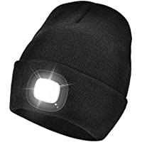 Unisex Bright Knit 4 LED Beanie Hat with Light USB Rechargeable Lighted Headlamp Torch Cap Gift for Men and Women