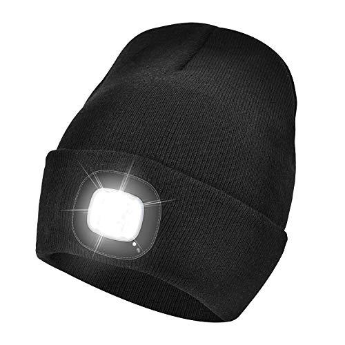 WEITOO LED beleuchtete Mütze,Camping Outdoor LED Kappe wiederaufladbare USB-Laufmütze mit extrem Heller 4-LED-Lampe Walking, Camping, Jogging, Angeln (Schwarz)