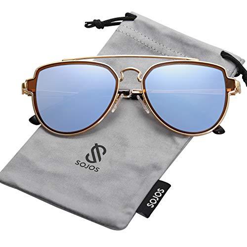 SOJOS Retro Doppelte Metallbrücken Polarized Linse Sonnenbrille für Herren Damen SJ1051 mit Gold Rahmen/Blau Grau Polarized Linse