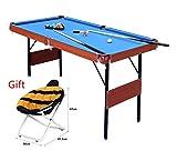 HLC, tavolo da biliardo e snooker pieghevole, colore blu, con palle, 1,2m, 140 x 74,3 x 80,3cm