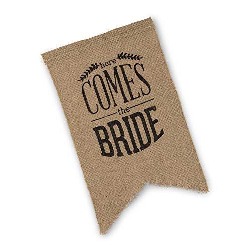 Weddingstar Leinwand-Zeremonie-Zeichen-natürlicher schwarzer Druck hier kommt die Braut (Die Kommt Braut-zeichen Hier)