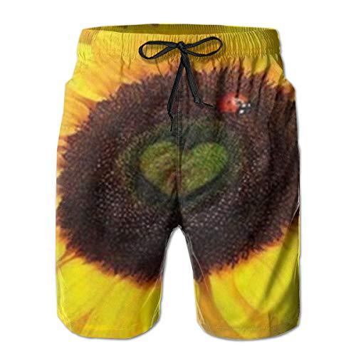 Ye Hua Costume da Bagno Uomo Coccinella On Sunflower1 Summer Beach Costumi da Bagno Quick Dry L