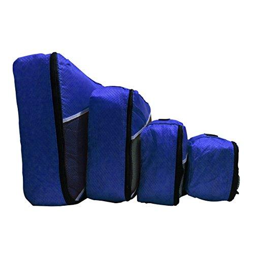 evatex imballaggio cubi da viaggio cubiche, Set di 4pezzi, con borsa per scarpe, Black (nero) - EVA-4P-FTPC-EVABLACK Navy