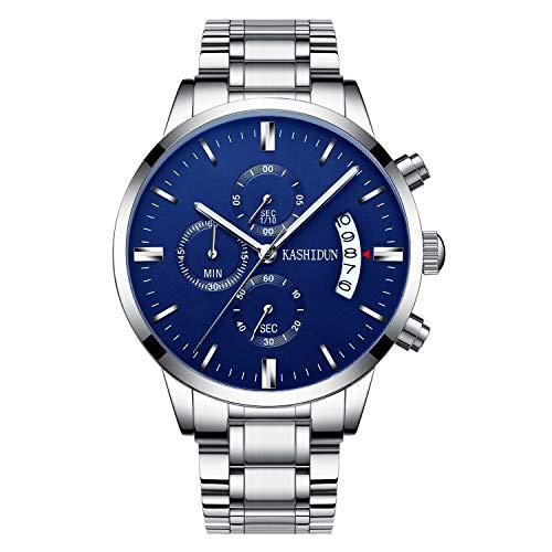 KASHIDUN Herrenuhren Edelstahl Schwarz Klassische Business Casual Uhren mit Mondphase Wasserdichte Multifunktions Quarz Armbanduhr für Herren (A-Black5)