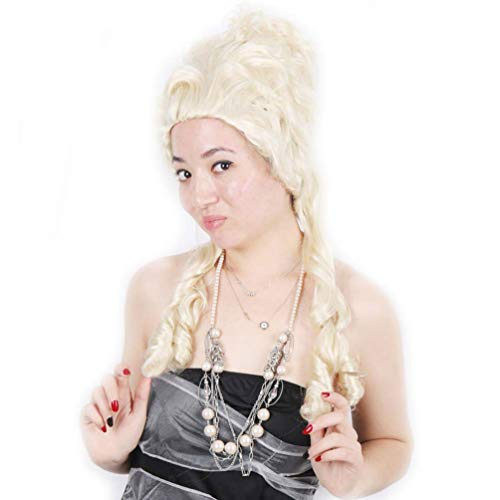 ücke (Blond) Zubehör Cosplay Anime Haar Perücke Lange Lockige Wellenförmige Synthetische Perücke für Frauen Keine Spitze Französisch Kolonialcharakter Deluxe Kostüm ()