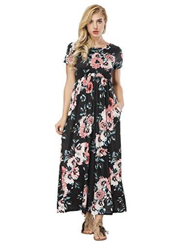 FeelinGirl Kleider Damen Blumen Kleid Elegant Langarm Maxikleid Floral Print Böhmischen Strand Maxi Kleid Casual