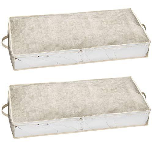 2er Set Unterbettkommode Aufbewahrungstasche aus Stoff für Bettdecken, Kissen, Etc. - Aufbewahrungsbox, Unterbettbox, Betttasche groß, Bett Stauraum (100 x 45 x 15 cm) (beige/grau, 2)
