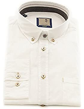 Seidensticker Herren Langarm Hemd Schwarze Rose Slim Fit Washed Button-Down-Kragen weiß 442202.01