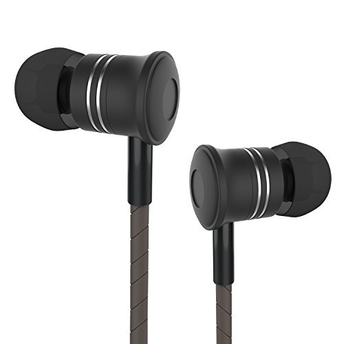 Auriculares In Ear Estéreo con Micrófono, Moniko auriculares deportivos con Cable, 3 Colores para Móvil, Reproductor MP3 etc - Negro