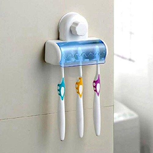 Huayang Startseite Bathroom 5 Haken für Wandmontage Zahnbürste Spin Pinsel Hängehalter mit Deckel