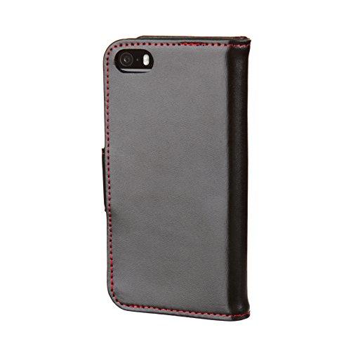 Etui de TORRO pour iPhone SE / iPhone 5, étui portefeuille brun clair/tan, en cuir de vache véritable des Etats Unis pour iPhone SE / iPhone 5 / 5S Noir