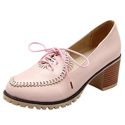 Oasap Women's Round Toe Lace-up Chunky Heels Pumps Pink