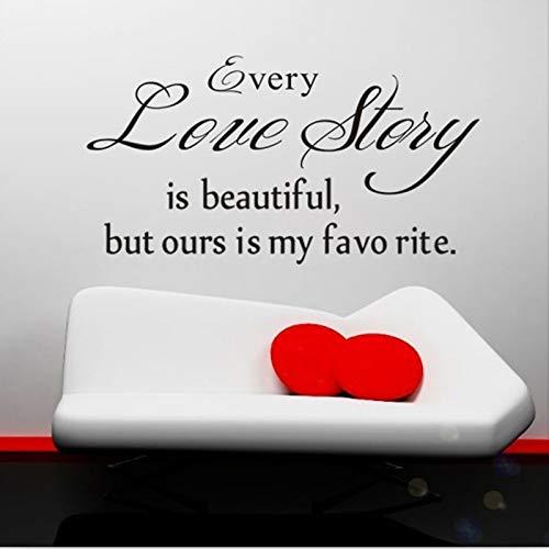 ELGDX Sticker Mural Citation Anglaise Déco Chaque Histoire d'amour est Belle Lettrage Mots Art Décalcomanies Chambre PVC