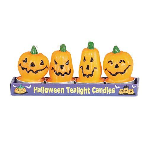 NET TOYS Halloween-Kerzen Kürbis-Gesichter | 4 Stück je 6 cm | Gruselige Party-Dekoration Kürbis-Kerzen | Ideal für Gruselparty & Horror-Party