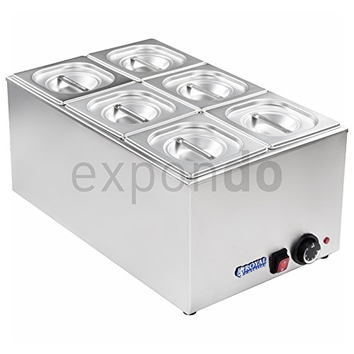 Royal Catering - RCBM-1 - Bain Marie 1/6 - max 95°C - 230 Volt - 1200 Watt - 6x1/6 GN container Test