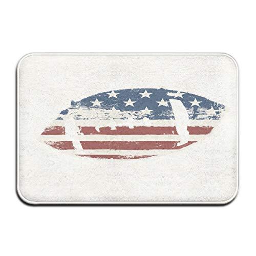 Nacasu Memory Foam Bath Mat Non Slip Absorbent Super Cozy Plush Bathroom Rug Carpet,Grunge American Flag Themed Stitched Rugby Ball Vintage Design Football Theme,Decor Door Mat 23.6 X 15.7 Inches -