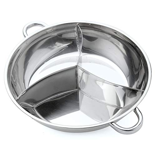 ExcLent 400/340Mm 3 Taste Stainless Steel Hot Pot Cookware Soup Container 3 Site Induction Compatible - #2