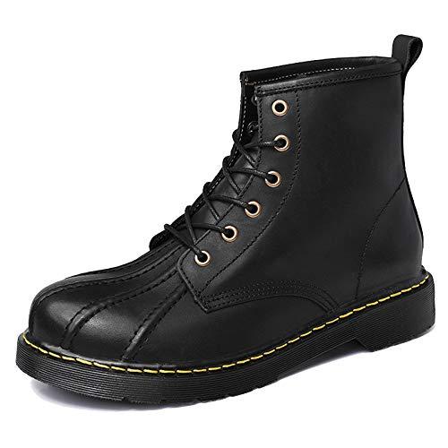 Mens Echtes Leder Martin Stiefel Shell Toe Ankle Boot Vintage Kurze Desert Boot Outdoor Travel Schuhe Trekking Wanderschuh,Black-43