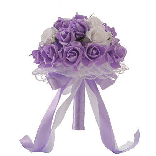 uß Kristall Rosen Brautjungfer Hochzeit Blumenstrauß Brautstrauß Kunstseide Blumen violett ()
