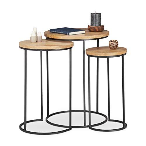Relaxdays Beistelltisch 3er Set, runde Ablage, Satztische in 3 Größen, ineinander stellbar, Metall und Mangoholz, Natur