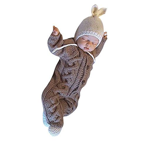 (Euaoqi Knit Jumpsuit, Newborn Baby Kids Warm Knitted Cotton Long Sleeve Infant Warm Soft Sweater Outwear (Khaki))