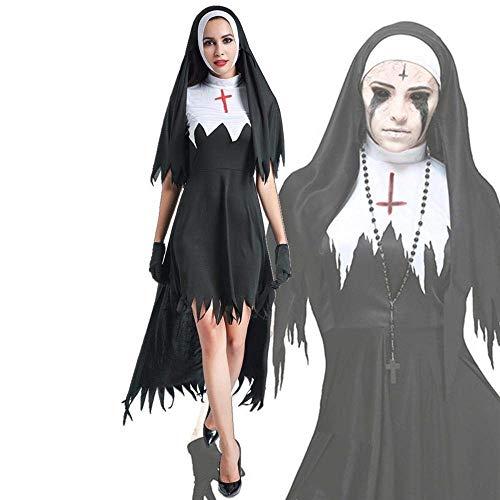 Fashion-Cos1 Kurzen Ärmeln Schwarz Kostüm Halloween Party Frauen Hexe Vampire Ghost Kostüm Sexy Phantasie Magier Performances Kleid (Size : L)