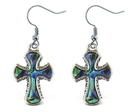 aqua-jewelry-pendientes-dangle-post-fish-ganchos-natural-paua-cruz
