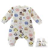 Baby schlafsack mit Beinen Warm Lined Winter Langarm Winter schlafsack mit Fuß und Baby schuhe 3,5 Tog (M/Körpergröße 80cm-95cm, rosaPowl)