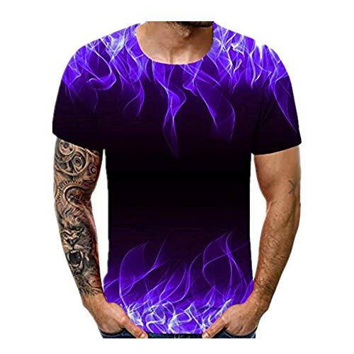 3D T-shirt Männer Dasongff T Shirt Herren Tshirts 3D Druck Kurzarm Rundhalsausschnitt mit Überall Muster Sommer T-Shirts Stilvoll Casual Oberteile Tops (Lila, XXL) -