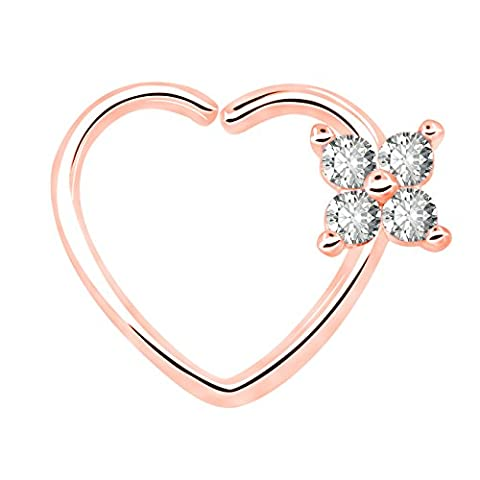 OUFER Body Piercing 18Ct en or blanc plaqué Clair CZ En forme de coeur Fermeture à gauche Daith Cartilage Tragus Boucles d'oreilles en 16Gauge Cartilage Heart Tragus Earrings (Rose Gold Clear)