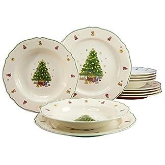 Creatable 16183 4 – Vajilla (12 Piezas, Porcelana), diseño de árbol de Navidad