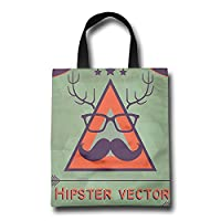 IFREE Hipster Vector Reusable Shopping Bag Hand Bag Double Print:Size 43x20 Cm,handle 43 Cm