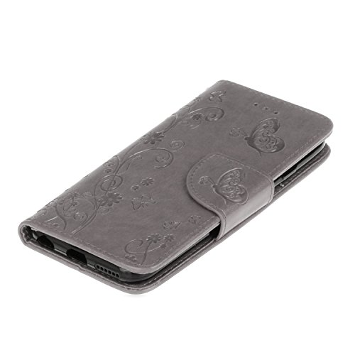 Custodia iPhone 6 Plus, ISAKEN Custodia iPhone 6S Plus, iPhone 6 Plus Flip Cover con Strap, Elegante borsa Tinta Unita Piuma Design in Sintetica Ecopelle PU Pelle Protettiva Portafoglio Case Cover per Fiore: grigio