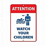 Achtung Watch Your Children Activity Sign Pool Schilder Vintage Metall Schilder Lustige Warnschilder Wand-Blechschild für Zuhause Dekor