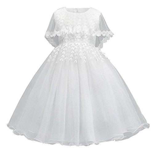 2018 Neue Mode Hochzeit Kleid Kleinkind Kinder, DoraMe Baby Mädchen Weiß Blumen Prinzessin Kleid Mesh Gaze Rattail Tüll Party Kleid Rundhals ärmellose Ballkleid für 2-7 Jahr (Weiß, 7 Jahr) (Weiße Top Gaze-tunika)