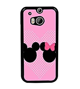 PrintDhaba Mickey and Minnie D-2359 Back Case Cover for HTC ONE M8s (Multi-Coloured)
