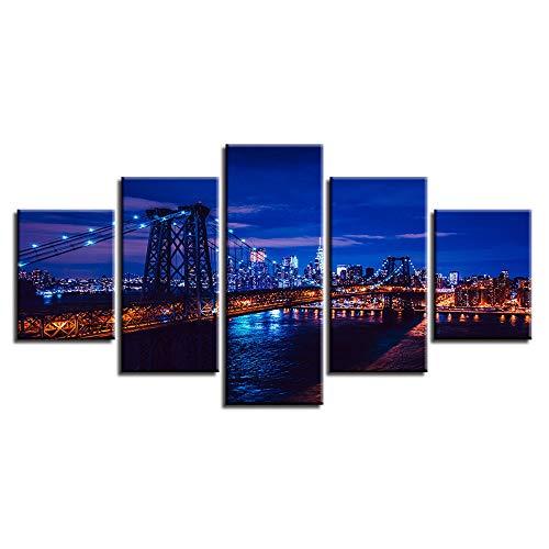 Aliworte Innen- Home Öl Gemälde Auf Leinwand Für Art Wandbild Dekoration Modernes Leinwand DIY 5 Pcs/Set Nachtaufnahme Frameless 100x40 80x40 60x40(cm) - 1315 Tintenstrahl