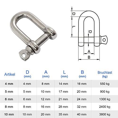 PRIOstahl® Schäkel Standard - Edelstahl V4A Rostfrei VA A4 Zum Seegeln mit Splint (1 Stück, M4)