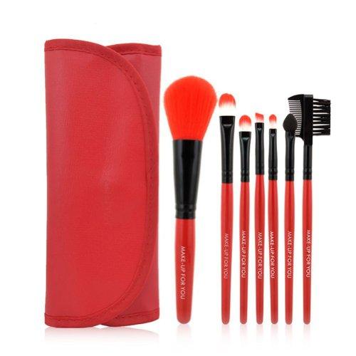Davidsonne Professionnel Fond de Teint Poudre Blush cosmétiques Maquillage Brosse Set (7 pièces, Rouge)