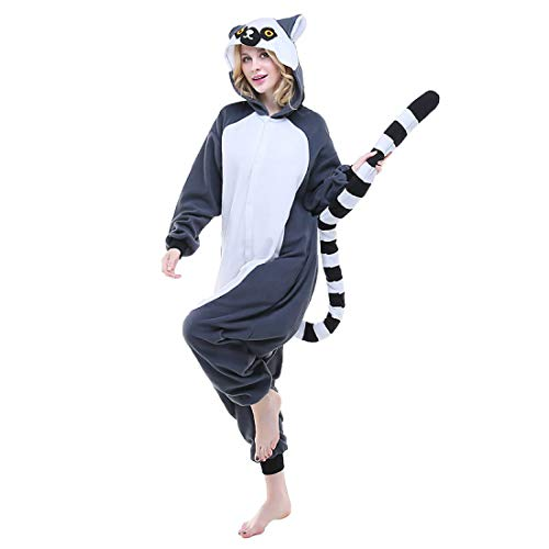 Für Erwachsene Lemuren Pyjama Kostüm - DUKUNKUN Erwachsene Pyjamas Lemur Pyjamas Kostüm
