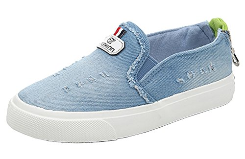 VECJUNIA Jungen Mädchen Outdoor Ferse Reißverschluss Slip on Denim Turnschuhe Flat Retro Schuhe Hellblau 25 EU (Reißverschluss Ferse)
