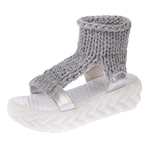 Promotionen UFACE Candy-farbigen geflochtenen Fisch Mund Plattform Keil Plattform Sandalen Schuhe auf Plattform Gladiatoren Damenschuhe (40 EU, Grau)