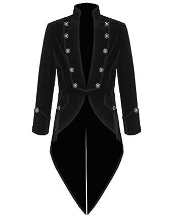 100% Velvet Mens Steampunk Vintage Tailcoat Gothic Swallowtail ... ab5f765beb0