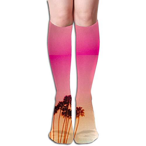 Kokospalme Sun Set Design elastische Mischung lange Socken Compression Kniestrümpfe (50cm) für den Sport