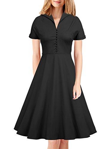 iLover 50s Retro vintage Rockabilly kleid Hepburn Stil shirt Partykleid Cocktailkleid (Pin Up Mädchen Kostüme)