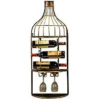 JIUJ Pared con Vidrio Organizador de Vajilla, Estante de Vino de Pared para 3 Botellas