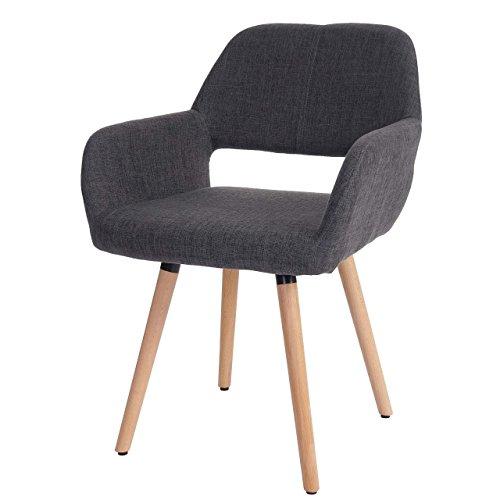 Chaise de salle à manger Altena II, fauteuil, design rétro des années 50 ~ tissu, gris