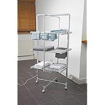 Stenditoio asciugabiancheria elettrico riscaldato a 3 ripiani per vestiti, bucato, asciugamani